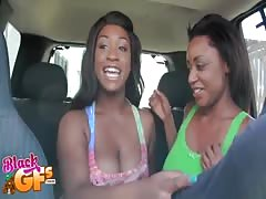 Two busty black girlfriends are sucking juicy hard dick Thumb