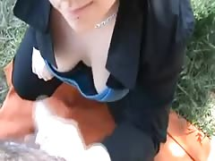 Big Gal In The Park Gets Hosed With Sperm Thumb