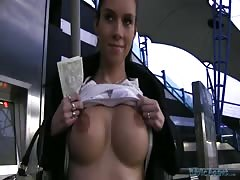 Glamour young lass getting fucked for money of a Public Agent Thumb