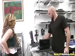 Curly slut getting fucked by brutal male in Money Talks video Thumb