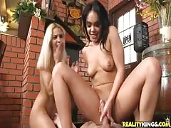 Enjoy an awesome threesome banging with two cock-sucking sluts Thumb