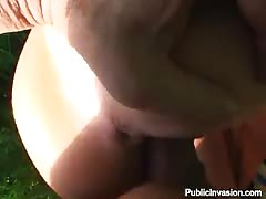 Skinny blonde whore fucks for money outdoors Thumb