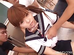 Two horny studs undressing and fucking slutty schoolgirl Thumb