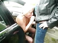 Submissive slut granny used by stranger in highway car park Thumb