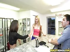 Cuties slowly undressing and banging after getting money Thumb