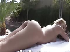Tiny4K Blonde girl spreads pussy for huge cock by pool Thumb