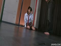 Clothed Asian schoolgirl swallowing sperm in the video by Jav HD Thumb