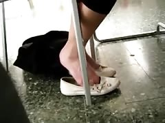 Candid Cute College Teen Shoeplay Feet in Library Thumb
