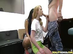 Young cock-sucking sluts are blowing dick to get cash Thumb