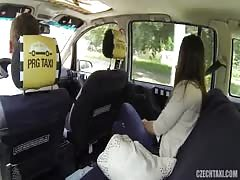 Czech Taxi driver seducing sexy passenger at the backseat Thumb