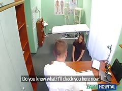 Doctor undressing slender brunette on hidden camera Thumb