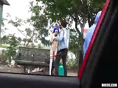 Slutty clown with blue hair get a nice ride in Stranded Teens video Thumb