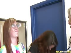 Small-tit beauty and chesty milf getting payed a lot Thumb