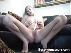 Busty chick Autumn playing her pussy with her favorite toy Thumb