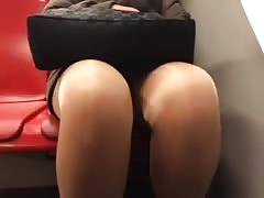mature upskirt legs tights in metro part 2 Thumb